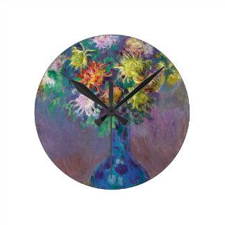 Relógio Redondo Vaso dos crisântemos Claude Monet