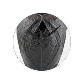 Relógio Redondo Vaso preto do lagarto de vidro do art deco
