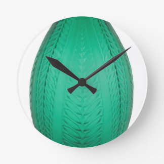 Relógio Redondo Vaso verde alto do vidro do art deco