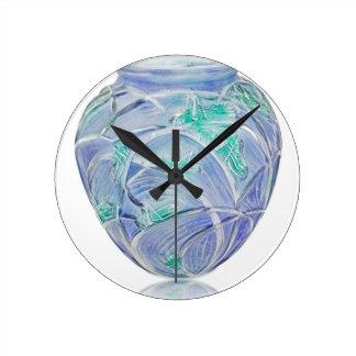 Relógio Redondo Vaso verde do art deco do fosco com gafanhotos