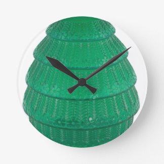 Relógio Redondo Vaso verde do vidro da arte