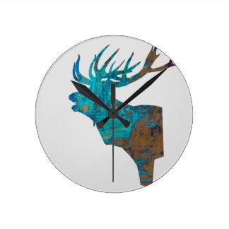 Relógio Redondo veado principal dos cervos nos turquois