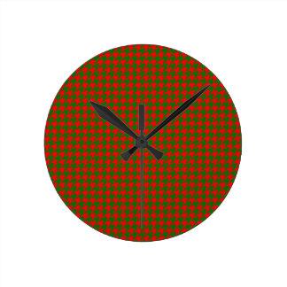 Relógio Redondo Verificação vermelha e verde do Natal clássico de