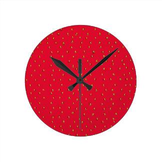Relógio Redondo Vermelho engraçado do fundo da morango