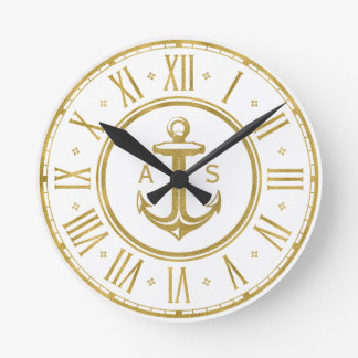 Relógio Redondo Vermelho náutico dourado clássico da âncora |