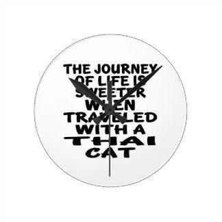 Relógio Redondo Viajado com gato tailandês