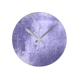 Relógio Redondo Vidro Amethyst roxo da ameixa da lavanda mínima