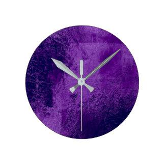 Relógio Redondo Vidro de couro Amethyst do metal da ameixa roxa