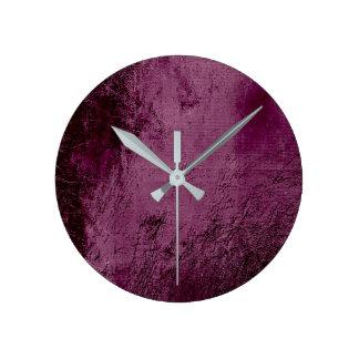 Relógio Redondo Vidro Noir das beterrabas mínimas do Bordéus de