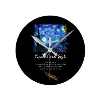 Relógio Redondo Vincent van Gogh. Arte do poema da pintura da