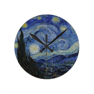 Relógio Redondo Vincent van Gogh - noite estrelado. Pintura da