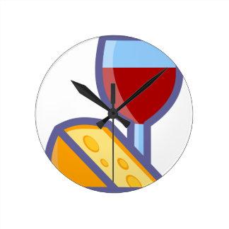 Relógio Redondo Vinho e queijo