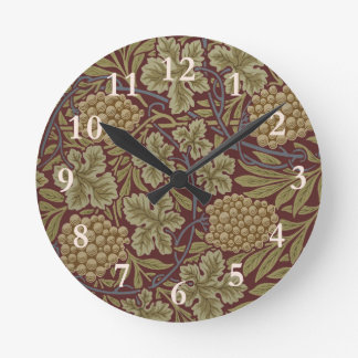 Relógio Redondo Vintage do teste padrão do papel de parede da