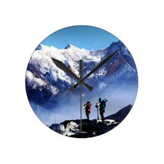 Relógio Redondo Vista panorâmica da montanha máxima de Ama Dablam