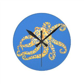 Relógio Redondo Vitral azul do polvo
