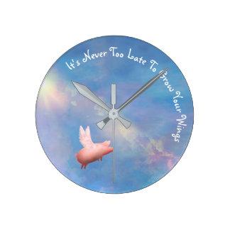 Relógio Redondo Voar Porco-Cresce suas asas