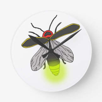 Relógio Redondo vôo do inseto de relâmpago iluminado