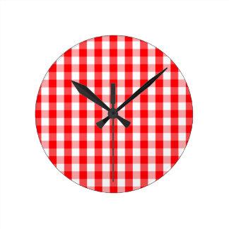 Relógio Redondo Xadrez vermelha e branca do grande Natal do
