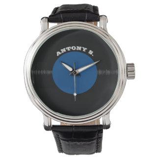 Relógio Registro de vinil retro do vintage (azul)