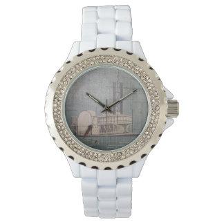 Relógio Relógio, branco com barco a vapor