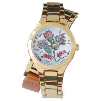 Relógio Relógio, goldtone, metal, flores