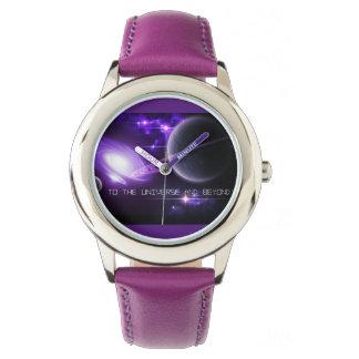 Relógio Relógio-Universo de aço inoxidável roxo & Beyon