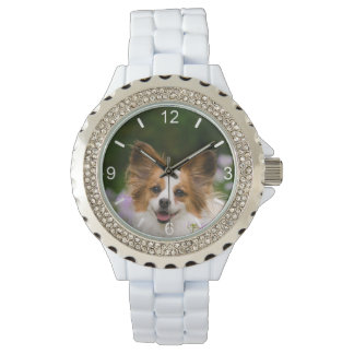 Relógio Retrato romântico bonito do cão de Papillon -