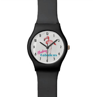 Relógio Reunindo a tipografia fabulosa com flamingo