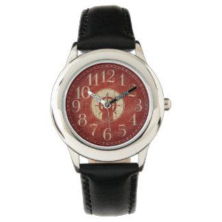 Relógio Roda vermelha náutica decorativa original do navio