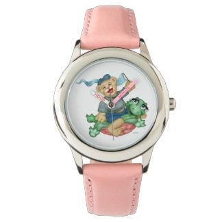 Relógio Rosa de aço inoxidável dos DESENHOS ANIMADOS do