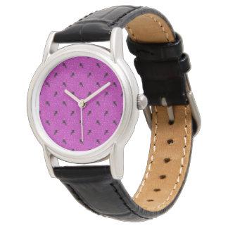 Relógio rosa do teste padrão do unicórnio