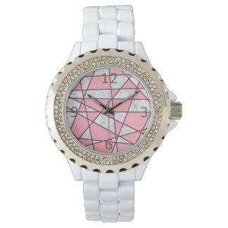 Relógio rosa pastel e vermelho de mármore brancos