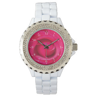 Relógio Rosa vermelho romântico do rosa
