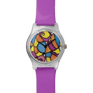 Relógio Roxo abstrato Funky