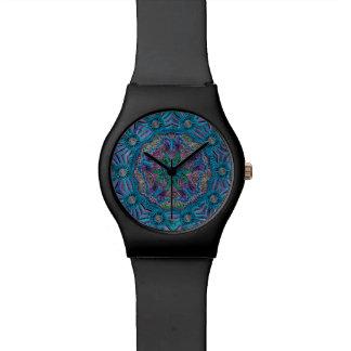 Relógio roxo azul da mandala da cerceta