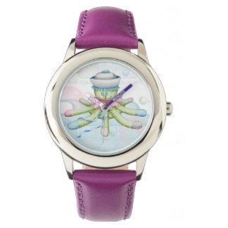 Relógio Roxo de aço inoxidável dos DESENHOS ANIMADOS do