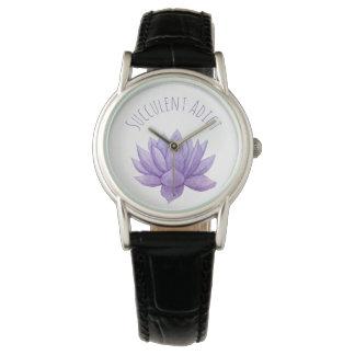 Relógio roxo do Succulent da aguarela