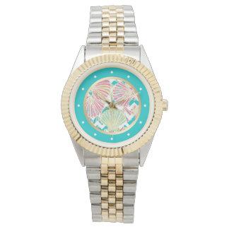 Relógio Seashells elegantes Chevron