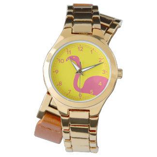 Relógio Silhueta cor-de-rosa e amarela do flamingo