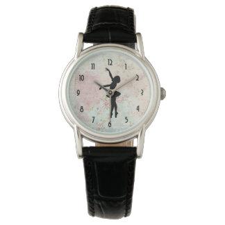 Relógio Silhueta da bailarina no teste padrão elegante do