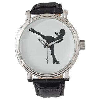 Relógio Silhueta da mulher do patinagem no gelo