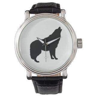 Relógio Silhueta do lobo do urro