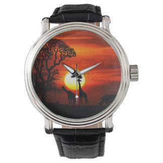 Relógio Silhuetas africanas do animal do por do sol do