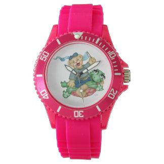 Relógio Silicone cor-de-rosa desportivo dos DESENHOS