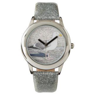 Relógio SilverGlitter das meninas e gaivota