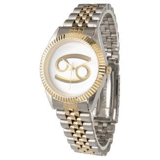 Relógio Símbolo do ouro do cancer do sinal do zodíaco da