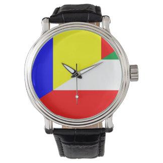 Relógio símbolo do país da bandeira de romania Hungria