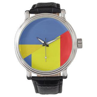 Relógio símbolo do país da bandeira de Ucrânia romania