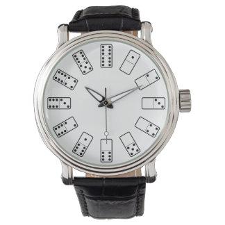Relógio Símbolos preto e branco do dominó do design