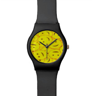 Relogio Smileys face amarelos bonitos